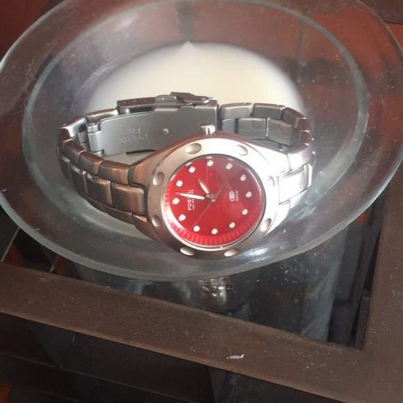 fossil accessories watch battery needs replaced red face poshmark